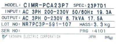Yaskawa CIMR-PCA23P7 label image