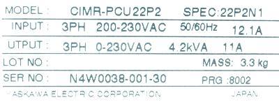 Yaskawa CIMR-PCU22P2 label image