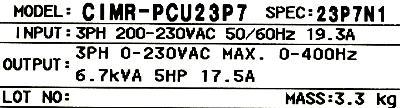 Yaskawa CIMR-PCU23P7 label image