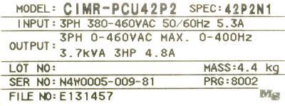 Yaskawa CIMR-PCU42P2 label image