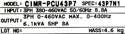 Yaskawa CIMR-PCU43P7 label image