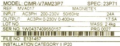 Yaskawa CIMR-V7AM23P7 label image