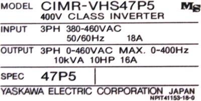 Yaskawa CIMR-VHS47P5 label image