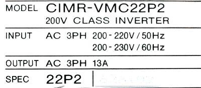 Yaskawa CIMR-VMC22P2 label image