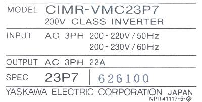 Yaskawa CIMR-VMC23P7 label image