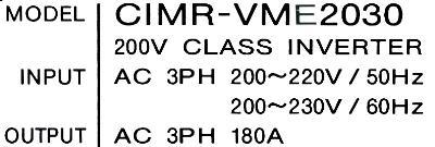 Yaskawa CIMR-VME2030 label image