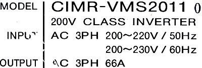 Yaskawa CIMR-VMS2011 label image