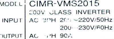 Yaskawa CIMR-VMS2015 label image