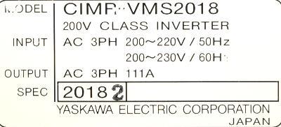Yaskawa CIMR-VMS2018 label image