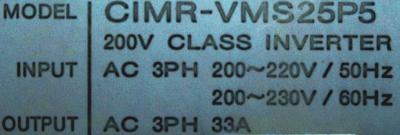Yaskawa CIMR-VMS25P5 label image