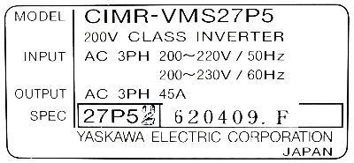 Yaskawa CIMR-VMS27P5 label image