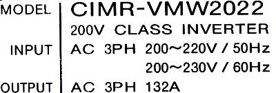 Yaskawa CIMR-VMW2022 label image
