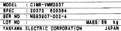 Yaskawa CIMR-VMW2037 label image