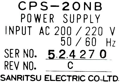 Sanritsu Electric Co. Ltd. CPS-20NB label image