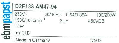 EBM-Papst Industries Inc D2E133-AM47-94 image