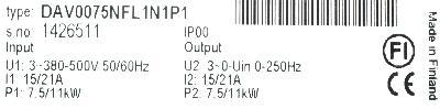 KoneCranes DAV0075NFL1N1P1 label image