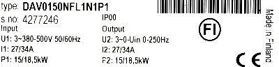 KoneCranes DAV0150NFL1N1P1 label image