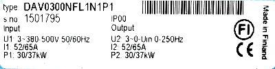 KoneCranes DAV0300NFL1N1P1 label image