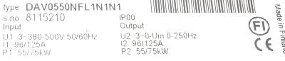 KoneCranes DAV0550NFL1N1N1 label image