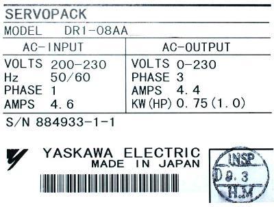 Yaskawa DR1-08AA label image