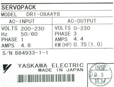Yaskawa DR1-08AA-Y8 label image