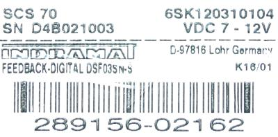 INDRAMAT DSF03SN-S label image