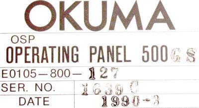 Okuma E0105-800-127 label image