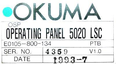 Okuma E0105-800-134 label image