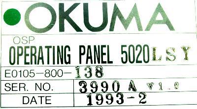 Okuma E0105-800-138 label image