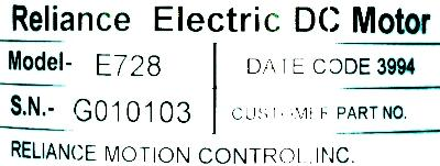 RELIANCE ELECTRIC E728 label image