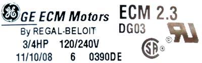 GE ECM2.3-0.75HP label image