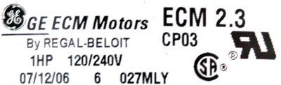 GE ECM2.3-1.0HP label image