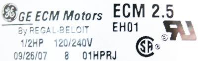 GE ECM2.5-0.5HP label image
