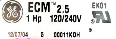 GE ECM2.5-1.0HP label image