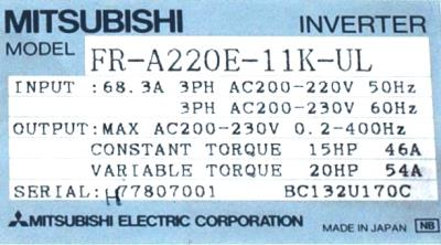 Mitsubishi FR-A220E-11K-UL label image