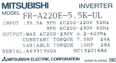 Mitsubishi FR-A220E-5.5K-UL label image
