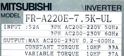 Mitsubishi FR-A220E-7.5K-UL label image