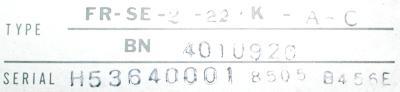 Mitsubishi FR-SE-2-22K-A-C label image