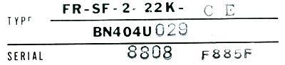 Mitsubishi FR-SF-2-22K-CE label image