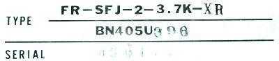 Mitsubishi FR-SFJ-2-3.7K-XR label image