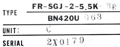 Mitsubishi FR-SGJ-2-5.5K-BR label image