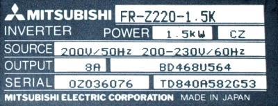Mitsubishi FR-Z220-1.5K label image