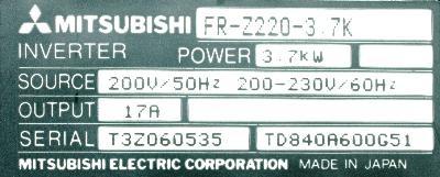 Mitsubishi FR-Z220-3.7K label image