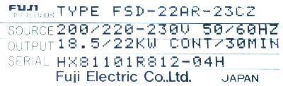 Fuji FSD-22AR-23CZ label image