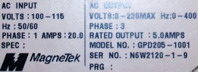 Magnetek GPD205-1001 label image