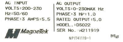 Magnetek GPD333-DS022 label image