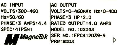 Magnetek GPD333-DS043 label image