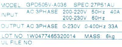 Magnetek GPD505V-A036 label image