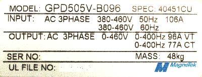 New Refurbished Exchange Repair  Magnetek Inverter-General Purpose GPD505V-B096 Precision Zone