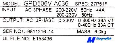 Magnetek GPD506V-A036 label image